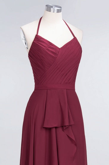 Affordable Chiffon Halter V-Neck Ruffle Burgundy Bridesmaid Dresses_14