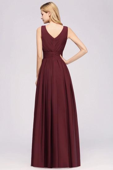 Modest Dark Green Long Bridesmaid Dress Deep V-Neck Chiffon Maid of Honor Dress_54