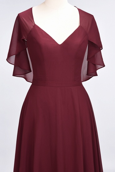 Chic Satin V-Neck Long Burgundy Chiffon Bridesmaid Dress with Flutter Sleeve_57