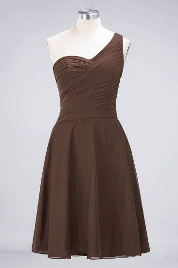 Chic One-Shoulder Short Burgundy Affordable Bridesmaid Dress with Ruffle_12