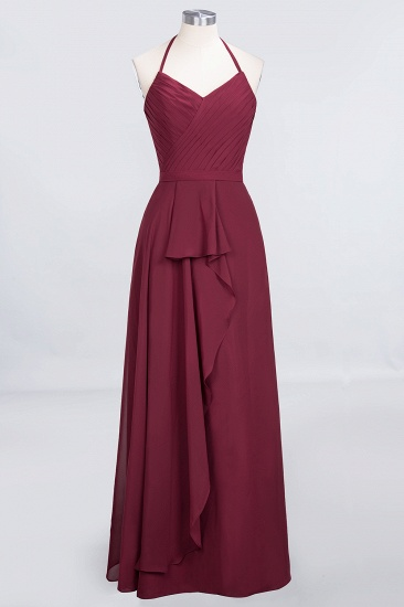 Affordable Chiffon Halter V-Neck Ruffle Burgundy Bridesmaid Dresses_10