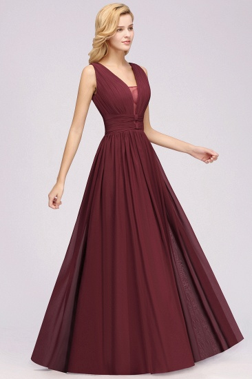 BMbridal Modest Dark Green Long Bridesmaid Dress Deep V-Neck Chiffon Maid of Honor Dress_53