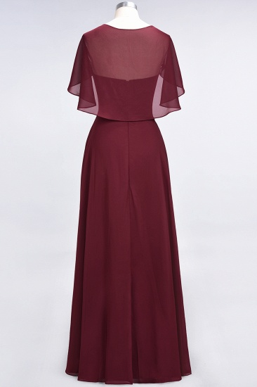 Chic Satin V-Neck Long Burgundy Chiffon Bridesmaid Dress with Flutter Sleeve_56