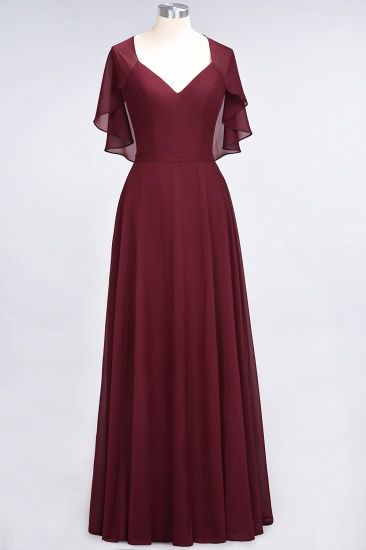 Chic Satin V-Neck Long Burgundy Chiffon Bridesmaid Dress with Flutter Sleeve_55