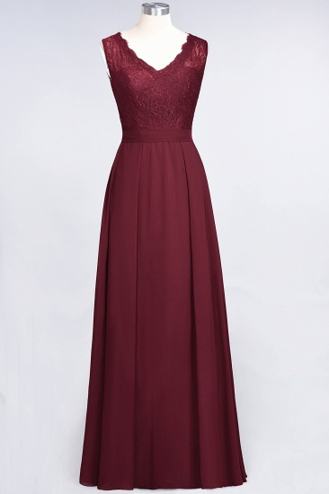 BMbridal Modest Chiffon V-Neck Burgundy Lace Bridesmaid Dresses Online_59
