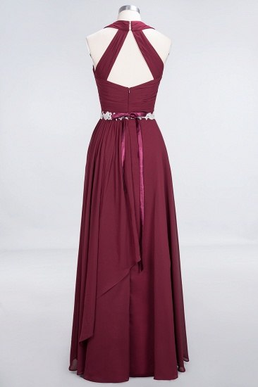 Elegant Chiffon Halter V-Neck Ruffle Bridesmaid Dress with Appliques Sashes_10