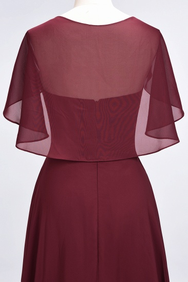 Chic Satin V-Neck Long Burgundy Chiffon Bridesmaid Dress with Flutter Sleeve_58