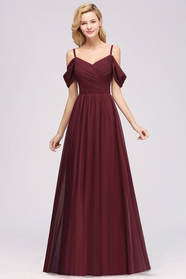 Chic Off-the-shoulder Burgundy Bridesmaid Dress with Spaghetti Straps_10
