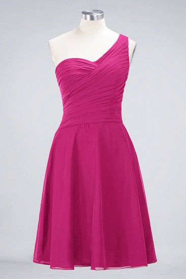 BMbridal Chic One-Shoulder Short Burgundy Affordable Bridesmaid Dress with Ruffle_9