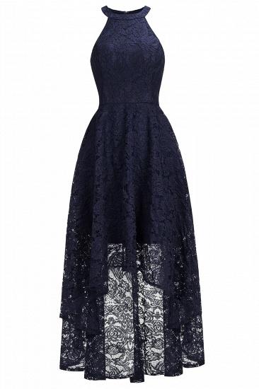 BMbridal Halter Sleeveless Sheath Asymmetrical Burgundy Lace Dress_3