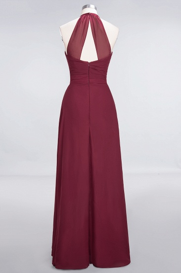 Affordable Chiffon Halter V-Neck Ruffle Burgundy Bridesmaid Dresses_11