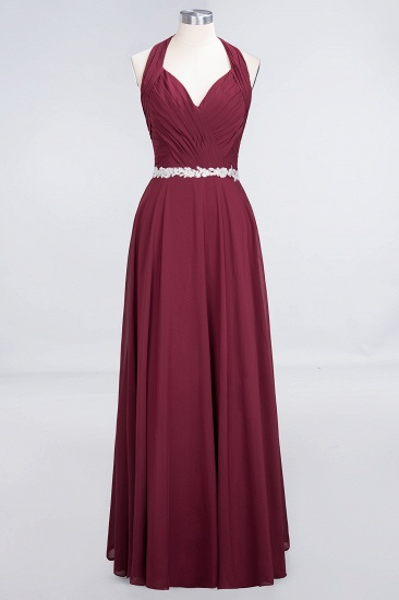 Elegant Chiffon Halter V-Neck Ruffle Bridesmaid Dress with Appliques Sashes_9