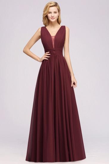 Modest Dark Green Long Bridesmaid Dress Deep V-Neck Chiffon Maid of Honor Dress_10