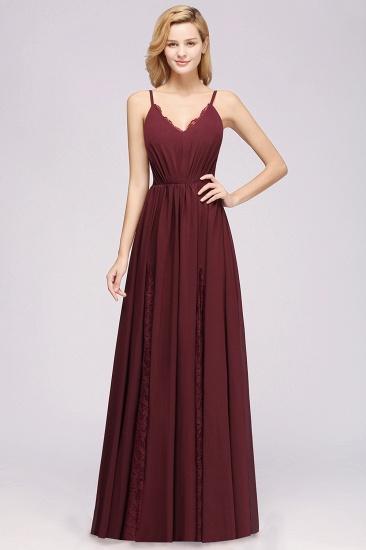 BMbridal Elegant Spaghetti Straps Long Bridesmaid Dress Lace V-Neck Maid of Honor Dress_10