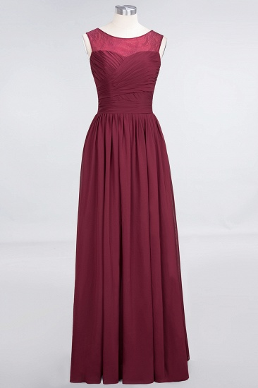 Modest Chiffon Lace Scoop Ruffle Burgundy Bridesmaid Dresses Affordable_7