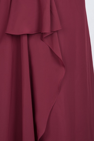 Affordable Chiffon Halter V-Neck Ruffle Burgundy Bridesmaid Dresses_16