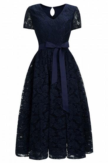 BMbridal Burgundy Short Sleeves Flower Lace V-neck Dress with Sash_2