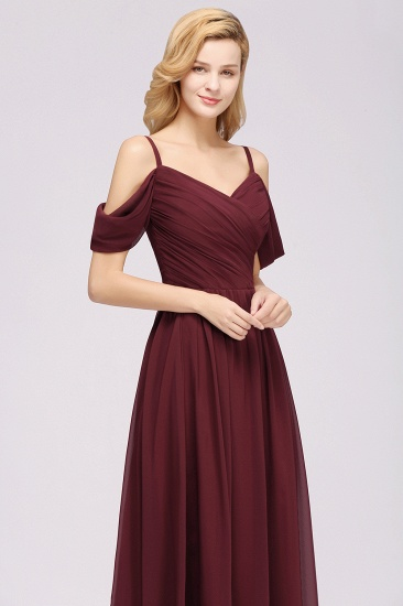 Chic Off-the-shoulder Burgundy Bridesmaid Dress with Spaghetti Straps_55