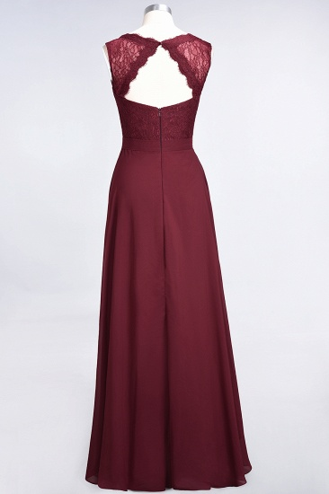 BMbridal Modest Chiffon V-Neck Burgundy Lace Bridesmaid Dresses Online_60