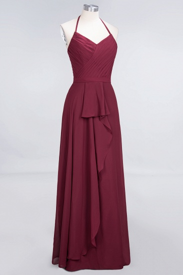 Affordable Chiffon Halter V-Neck Ruffle Burgundy Bridesmaid Dresses_12