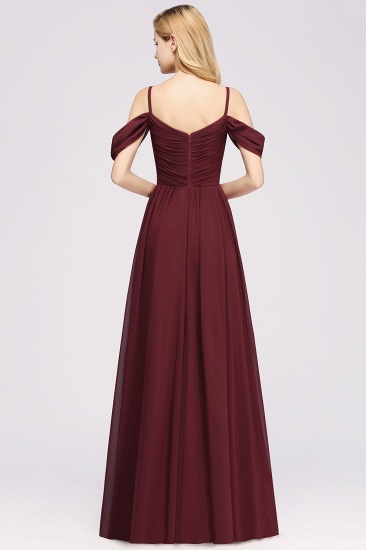 Chic Off-the-shoulder Burgundy Bridesmaid Dress with Spaghetti Straps_52