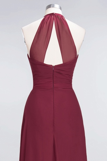 Affordable Chiffon Halter V-Neck Ruffle Burgundy Bridesmaid Dresses_15