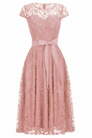 BMbridal Burgundy Lace Short Sleeves A-line Dress with Bow_1
