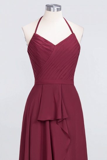 Affordable Chiffon Halter V-Neck Ruffle Burgundy Bridesmaid Dresses_13
