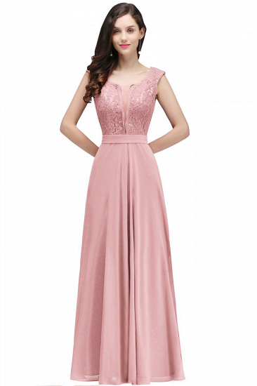 BMbridal Elegant Lace A-line Long Burgundy Prom Dress_1
