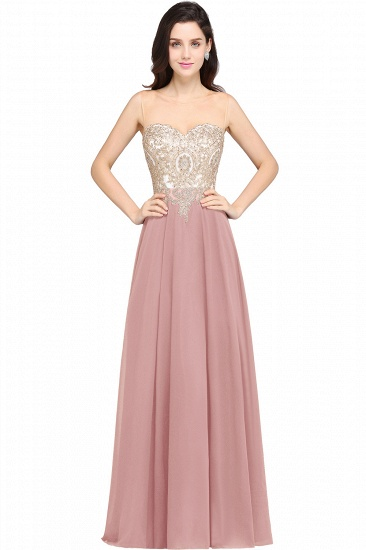 BMbridal Sheer Tulle A-line Chiffon Beads Lace Appliques Sleeveless Long Evening Dress_1