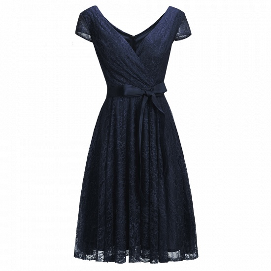 BMbridal A-line Shoet Sleeves V-neck Lace Dress with Bow Sash_3