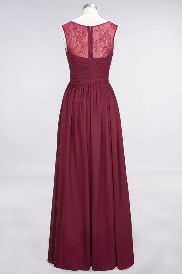 Modest Chiffon Lace Scoop Ruffle Burgundy Bridesmaid Dresses Affordable_8
