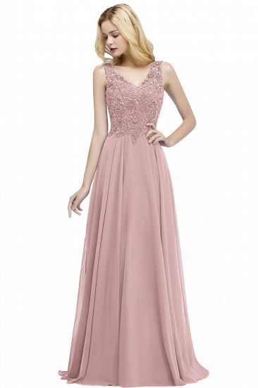 BMbridal A-line V-neck Sleeveless Long Appliqued Chiffon Prom Dress with Crystals_1