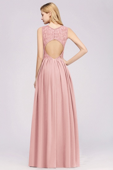 BMbridal Affordable Sleeveless Lace Pink Bridesmaid Dress With Hollowout Back_3