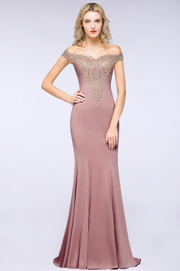 BMbridal Elegant Off-the-Shoulder Mermaid Prom Dress Long With Lace Appliques_12