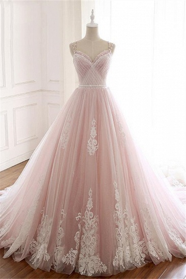 Princess Sweetheart Lace Pink Prom Dress Long Tulle Party Gowns_1