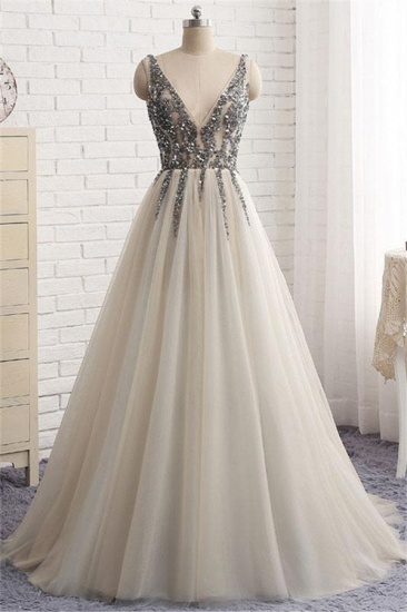 BMbridal Elegant V-Neck Sleeveless Prom Dress With Appliques Long Tulle Evening Gowns_1