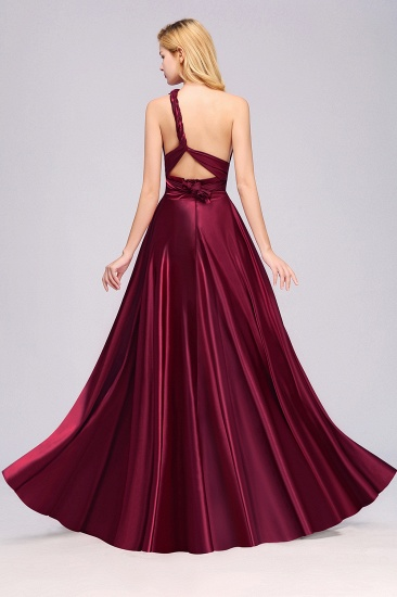 Chic Burgundy Chiffon Long Bridesmaid Dresses With One Shoulder_36