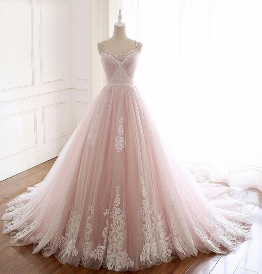 Princess Sweetheart Lace Pink Prom Dress Long Tulle Party Gowns_9