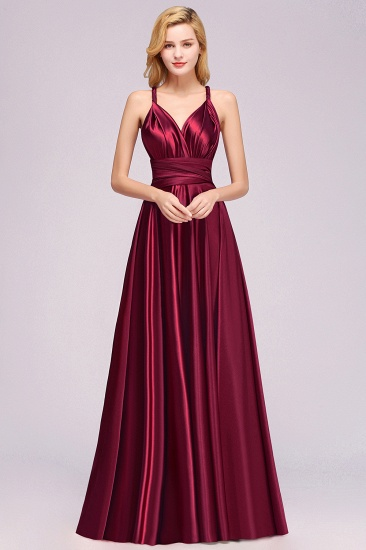 Chic Burgundy Chiffon Long Bridesmaid Dresses With One Shoulder_10