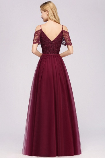 Affordable Chiffon Off-the-Shoulder Burgundy Lace Bridesmaid Dresses_3
