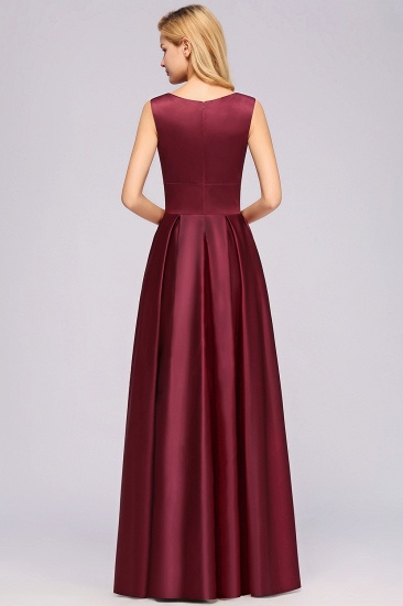 Vintage Deep-V-Neck Long Burgundy Bridesmaid Dress Online_3