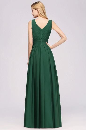 Modest Dark Green Long Bridesmaid Dress Deep V-Neck Chiffon Maid of Honor Dress_52
