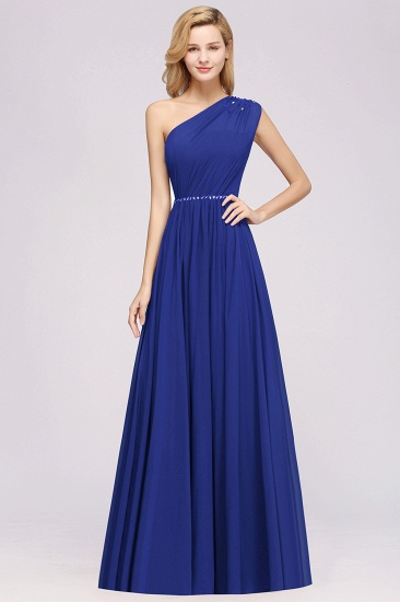 Modest One-shoulder Royal Blue Affordable Bridesmaid Dress with Beadings_26