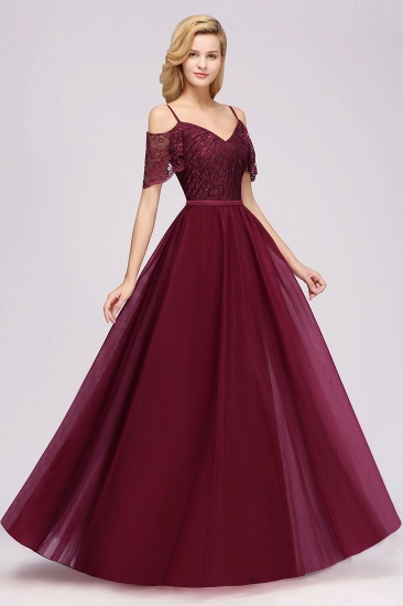 Affordable Chiffon Off-the-Shoulder Burgundy Lace Bridesmaid Dresses_1