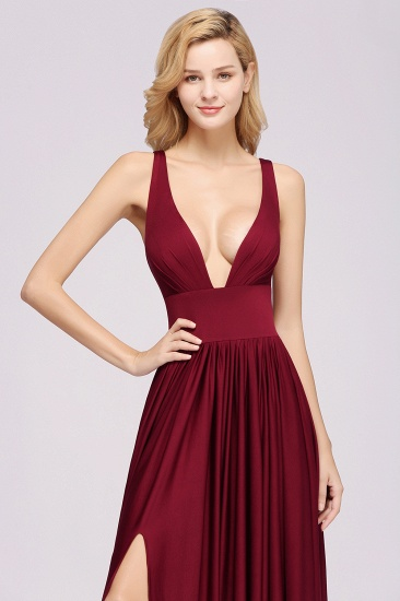Sexy Deep V-Neck Sleeveless Bridesmaid Dress Burgundy Chiffon Wedding Party Dress_38