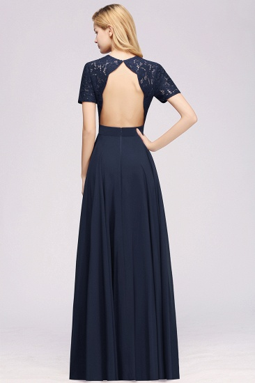 BMbridal Dark Navy Open-Back Long Bridesmaid Dress With Short Sleeves_52