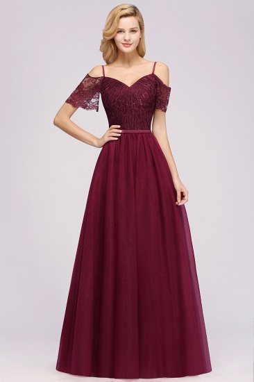 Affordable Chiffon Off-the-Shoulder Burgundy Lace Bridesmaid Dresses_2
