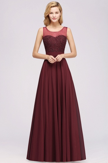 BMbridal Gorgeous Lace Jewel Affordable Pink Bridesmaid Dress with Beadings_3