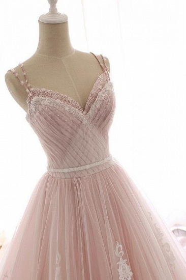 Princess Sweetheart Lace Pink Prom Dress Long Tulle Party Gowns_7